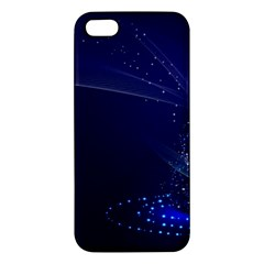 Christmas Tree Blue Stars Starry Night Lights Festive Elegant Apple Iphone 5 Premium Hardshell Case