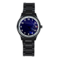 Christmas Tree Blue Stars Starry Night Lights Festive Elegant Stainless Steel Round Watch