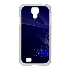 Christmas Tree Blue Stars Starry Night Lights Festive Elegant Samsung Galaxy S4 I9500/ I9505 Case (white)