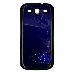 Christmas Tree Blue Stars Starry Night Lights Festive Elegant Samsung Galaxy S3 Back Case (black)