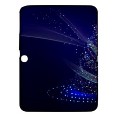 Christmas Tree Blue Stars Starry Night Lights Festive Elegant Samsung Galaxy Tab 3 (10 1 ) P5200 Hardshell Case
