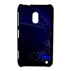 Christmas Tree Blue Stars Starry Night Lights Festive Elegant Nokia Lumia 620