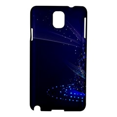 Christmas Tree Blue Stars Starry Night Lights Festive Elegant Samsung Galaxy Note 3 N9005 Hardshell Case