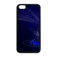 Christmas Tree Blue Stars Starry Night Lights Festive Elegant Apple Iphone 5c Seamless Case (black)