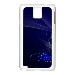 Christmas Tree Blue Stars Starry Night Lights Festive Elegant Samsung Galaxy Note 3 N9005 Case (white)