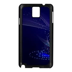 Christmas Tree Blue Stars Starry Night Lights Festive Elegant Samsung Galaxy Note 3 N9005 Case (black)