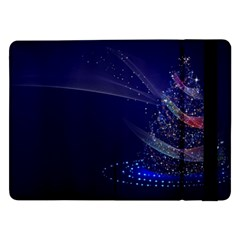Christmas Tree Blue Stars Starry Night Lights Festive Elegant Samsung Galaxy Tab Pro 12 2  Flip Case