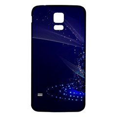 Christmas Tree Blue Stars Starry Night Lights Festive Elegant Samsung Galaxy S5 Back Case (white)
