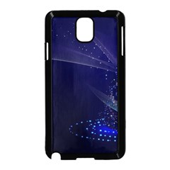 Christmas Tree Blue Stars Starry Night Lights Festive Elegant Samsung Galaxy Note 3 Neo Hardshell Case (black)