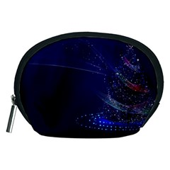 Christmas Tree Blue Stars Starry Night Lights Festive Elegant Accessory Pouches (medium)