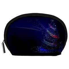 Christmas Tree Blue Stars Starry Night Lights Festive Elegant Accessory Pouches (large)