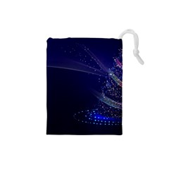 Christmas Tree Blue Stars Starry Night Lights Festive Elegant Drawstring Pouches (small)