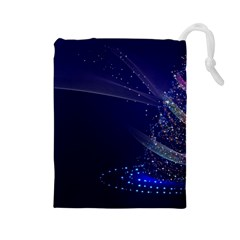 Christmas Tree Blue Stars Starry Night Lights Festive Elegant Drawstring Pouches (large)