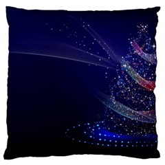 Christmas Tree Blue Stars Starry Night Lights Festive Elegant Large Flano Cushion Case (two Sides)
