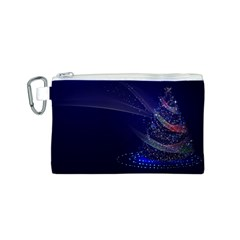 Christmas Tree Blue Stars Starry Night Lights Festive Elegant Canvas Cosmetic Bag (s)