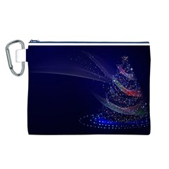 Christmas Tree Blue Stars Starry Night Lights Festive Elegant Canvas Cosmetic Bag (l)