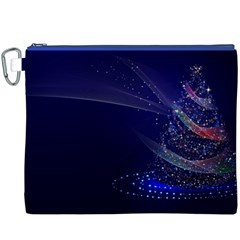 Christmas Tree Blue Stars Starry Night Lights Festive Elegant Canvas Cosmetic Bag (xxxl)