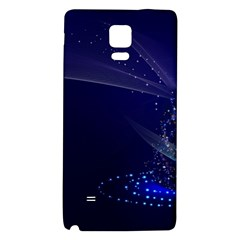 Christmas Tree Blue Stars Starry Night Lights Festive Elegant Galaxy Note 4 Back Case
