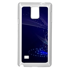 Christmas Tree Blue Stars Starry Night Lights Festive Elegant Samsung Galaxy Note 4 Case (white)