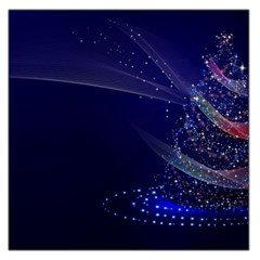 Christmas Tree Blue Stars Starry Night Lights Festive Elegant Large Satin Scarf (square)