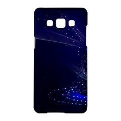Christmas Tree Blue Stars Starry Night Lights Festive Elegant Samsung Galaxy A5 Hardshell Case