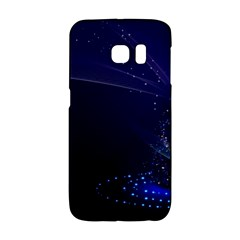 Christmas Tree Blue Stars Starry Night Lights Festive Elegant Galaxy S6 Edge