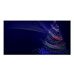 Christmas Tree Blue Stars Starry Night Lights Festive Elegant Satin Shawl