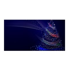 Christmas Tree Blue Stars Starry Night Lights Festive Elegant Satin Wrap