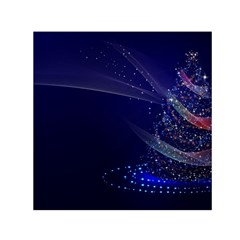Christmas Tree Blue Stars Starry Night Lights Festive Elegant Small Satin Scarf (square)