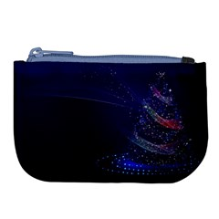 Christmas Tree Blue Stars Starry Night Lights Festive Elegant Large Coin Purse