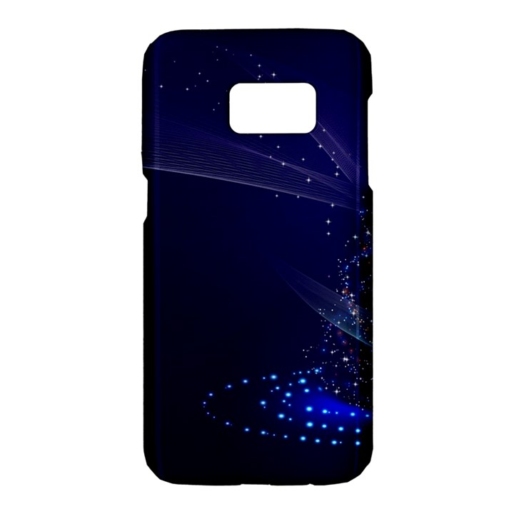 Christmas Tree Blue Stars Starry Night Lights Festive Elegant Samsung Galaxy S7 Hardshell Case