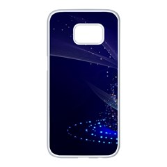 Christmas Tree Blue Stars Starry Night Lights Festive Elegant Samsung Galaxy S7 Edge White Seamless Case