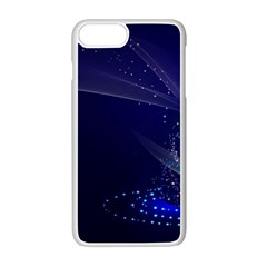 Christmas Tree Blue Stars Starry Night Lights Festive Elegant Apple Iphone 7 Plus Seamless Case (white)