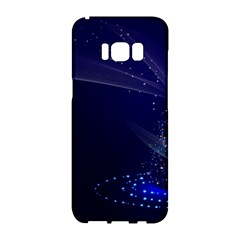 Christmas Tree Blue Stars Starry Night Lights Festive Elegant Samsung Galaxy S8 Hardshell Case