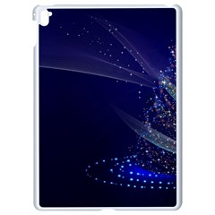 Christmas Tree Blue Stars Starry Night Lights Festive Elegant Apple Ipad Pro 9 7   White Seamless Case