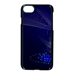 Christmas Tree Blue Stars Starry Night Lights Festive Elegant Apple Iphone 8 Seamless Case (black)