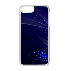 Christmas Tree Blue Stars Starry Night Lights Festive Elegant Apple Iphone 8 Plus Seamless Case (white)