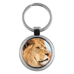 Big Male Lion Looking Right Key Chains (round)