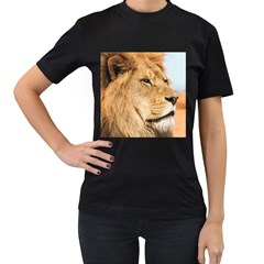 Big Male Lion Looking Right Women s T Shirt (black) (two Sided)