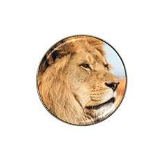 Big Male Lion Looking Right Hat Clip Ball Marker (4 Pack)