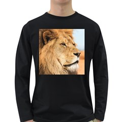 Big Male Lion Looking Right Long Sleeve Dark T Shirts