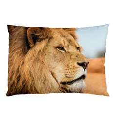 Big Male Lion Looking Right Pillow Case (two Sides)