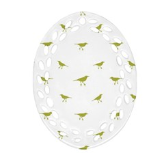 Birds Motif Pattern Oval Filigree Ornament (two Sides)