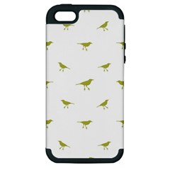 Birds Motif Pattern Apple Iphone 5 Hardshell Case (pc+silicone)