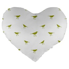 Birds Motif Pattern Large 19  Premium Heart Shape Cushions