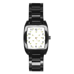 Birds Motif Pattern Stainless Steel Barrel Watch