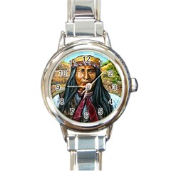 Apache Tribe Warrior Chiricahua Apache Tribe Round Italian Charm Watch