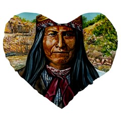 Apache Tribe Warrior Chiricahua Apache Tribe Large 19  Premium Flano Heart Shape Cushions
