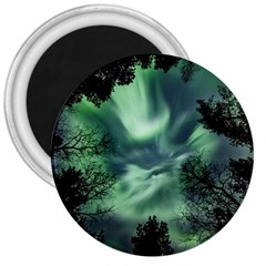 Northern Lights In The Forest 3  Magnets