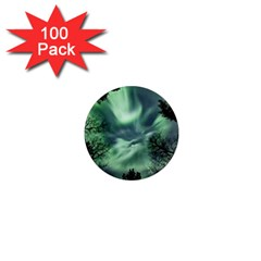 Northern Lights In The Forest 1  Mini Magnets (100 Pack)